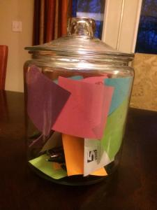 Filled with random sticky notes throughout the year celebrating moments of gratitude. A wonderful exercise I highly recommend.