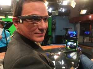 WRAL Traffic Anchor Brian Shrader wearing Google Glass