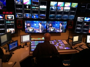 WRAL Director of News Operations James Ford setting up the switcher.